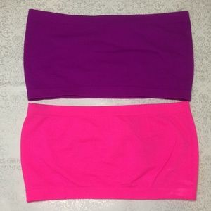 Two stretchy bandeau bras purple and pink